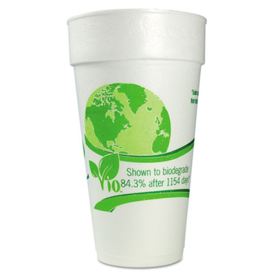 WinCup Vio Biodegradable Cups, Foam, 24 oz, White/Green, 300/Carton WCP24C18VIO 24C18VIO