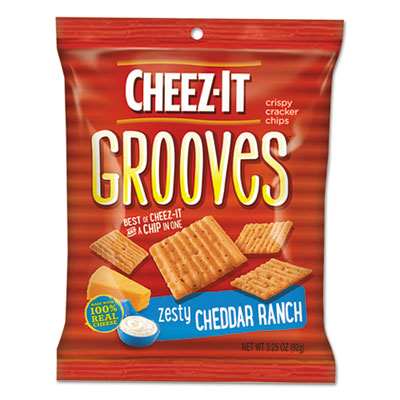 Sunshine Cheez-it Grooves Crackers, Zesty Ranch, 3.25 Bag, 6/Box KEB93646 2410093646