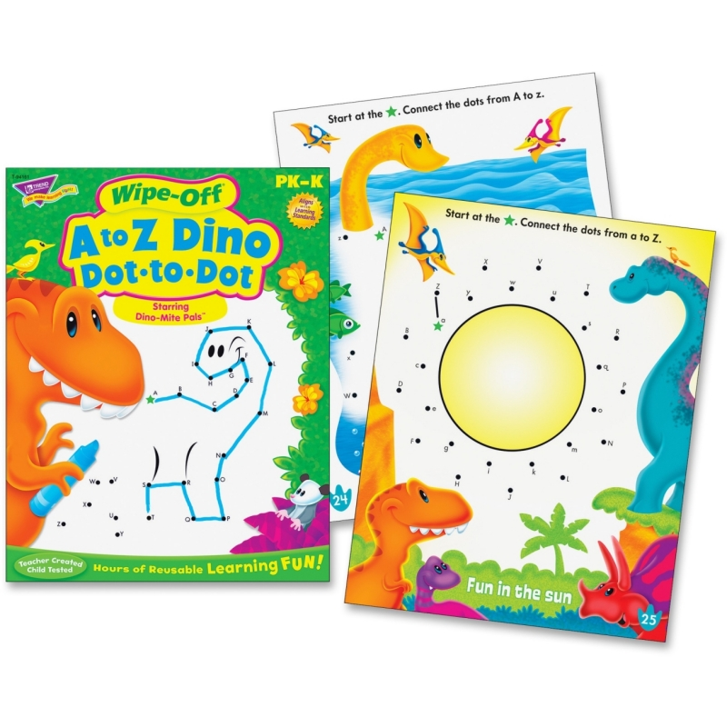 Trend A to Z Dino Dot to Dot Wipe-off Book 94161 TEP94161