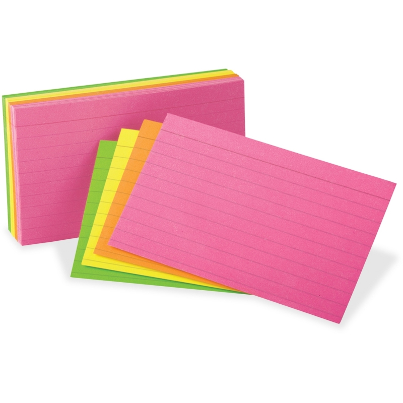 Oxford Neon Glow Ruled Index Cards 81300 OXF81300