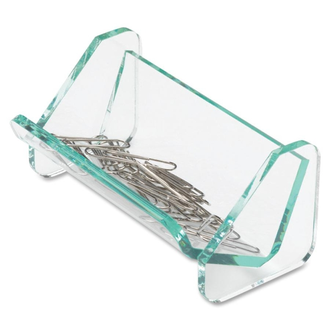 Lorell Acrylic Transparent Green Edge Paper Clip Holder 80660 LLR80660