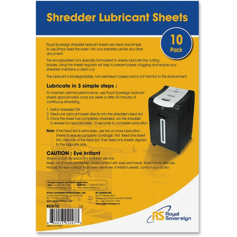 Royal Sovereign Shredder Lubricant Sheets - 10 Pack RS-SLS