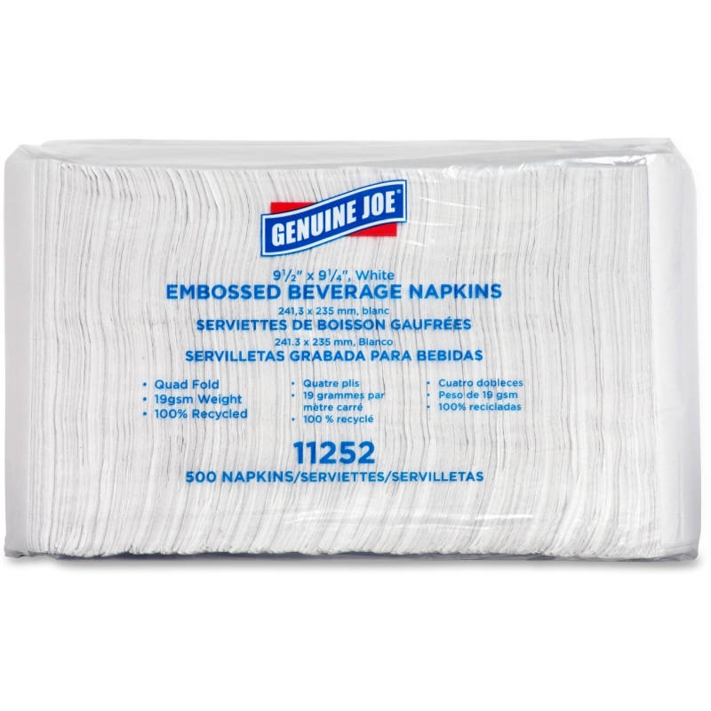 Genuine Joe Quad-fold Square Beverage Napkins 11252 GJO11252