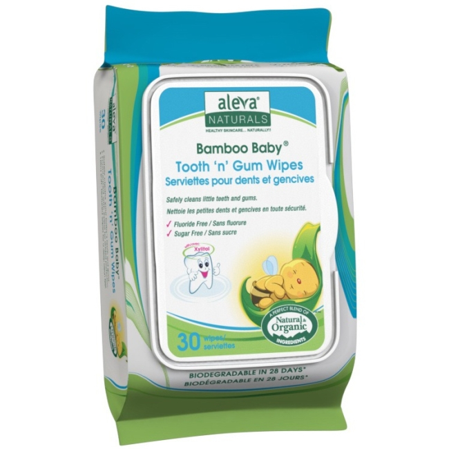 Aleva Naturals Bamboo Baby Tooth 'n' Gum Wipes, 360 Count (12 Packs of 30) 37960