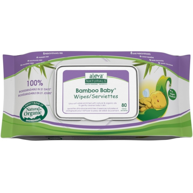 Aleva Naturals Bamboo Baby Wipes, 480 Count (6 Packs of 80) 37942