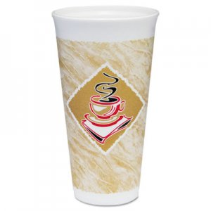 Dart Foam Hot/Cold Cups, 20 oz., Cafe G Design, White/Brown with Red Accents DCC20X16G DCC 20X16G