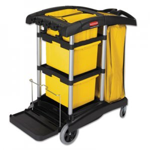 Rubbermaid Commercial HYGEN HYGEN M-fiber Healthcare Cleaning Cart, 22w x 48-1/4d x 44h, Black/Yellow/Silver RCP9T73