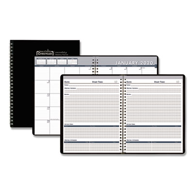 House of Doolittle Recycled Monthly Meeting Planner, 8 1/2 x 11, Black Cover, 2019 HOD522992 5229-92