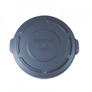 "Rubbermaid Commercial Flat Top Lid for 20-Gallon Round Brute Containers, 19 7/8"" dia., Gray RCP261960GRA FG261960GRAY"