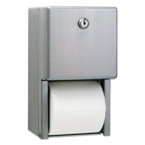 Bobrick Stainless Steel 2-Roll Tissue Dispenser, 6 1/16 x 5 15/16 x 11, Stainless Steel BOB2888 2888