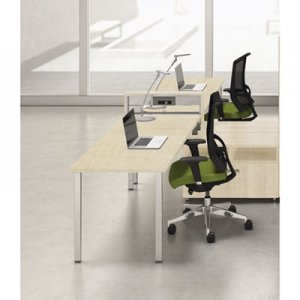 Mayline e5 Two-Person Workstation with Beltway, 123-1/2w x 73d x 29-1/2h, Summer Suede MLNEZPW3CAGY EZOW3CAGY