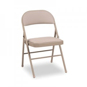 Alera Steel Folding Chair with Two-Brace Support, Padded Back/Seat, Tan, 4/Carton ALEFC96T