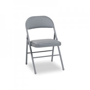 Alera Steel Folding Chair with Two-Brace Support, Padded Back/Seat, Light Gray, 4/CT ALEFC96G