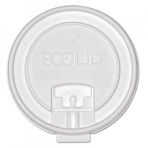 Eco-Products 25% Recy Content Dual-Temp Lock Tab Lid w/Straw Slot, 10-20oz , 50/PK, 12 PK/CT