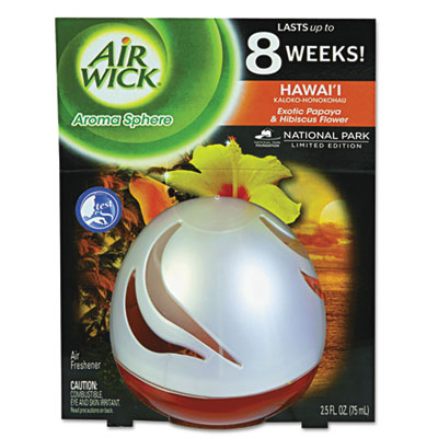 Air Wick Aroma Sphere Air Freshener, Hawai'i Exotic Papaya/Hibiscus Flower, 2.5 oz RAC89329EA 89329EA