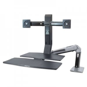 Ergotron WorkFit-A Sit-Stand Workstation w/Worksurface+,Dual LCD Monitors, Aluminum/Black ERG24316026 24316026