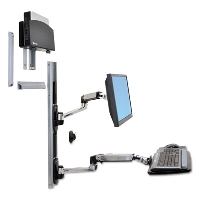 Ergotron LX Wall Mount System for Small CPU, Polished Aluminum/Black ERG45253026 45253026