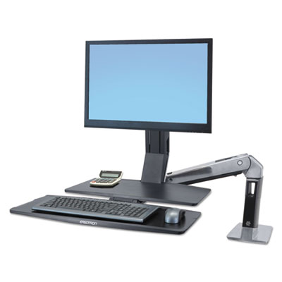Ergotron WorkFit-A Sit-Stand Workstation w/Worksurface+, LCD HD Monitor, Aluminum/Black ERG24314026 24314026