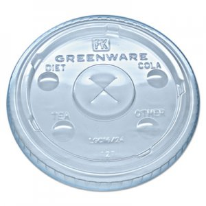 Fabri-Kal Greenware Cold Drink Lids, Fits 16-18, 24 oz Cups, X-Slot, Clear, 1000/Carton FABLGC1624 9509112