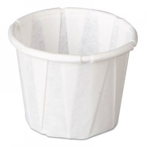 Genpak Squat Paper Portion Cup, Pleated, .5oz, White, 250/Sleeve, 20 Sleeve/Carton GNPF050 F050