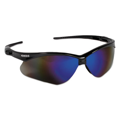 Jackson Safety Nemesis Safety Glasses, Black Frame, Blue Mirror Lens KCC14481 14481