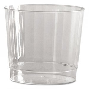 WNA Classic Crystal Plastic Rocks Tumblers, 9 oz., Clear, Fluted, Squat, 12/Pack WNACCR9240 WNA CCR9240