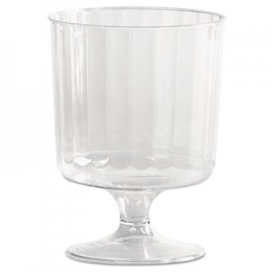 WNA Classic Crystal Plastic Wine Glasses on Pedestals, 5 oz., Clear, Fluted, 10/Pack WNACCW5240 WNA CCW5240