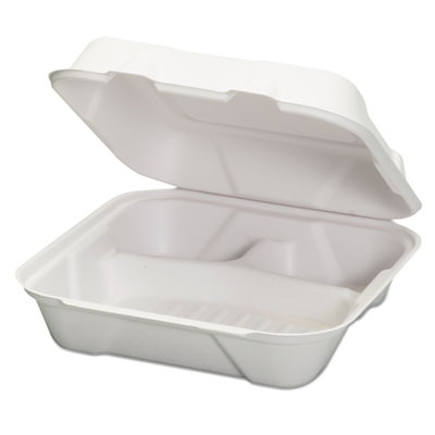 Genpak Harvest Fiber Hinged Containers, White, 9 x 9 x 3, 50/Bag, 4 Bag/Carton GNPHF203 HF203