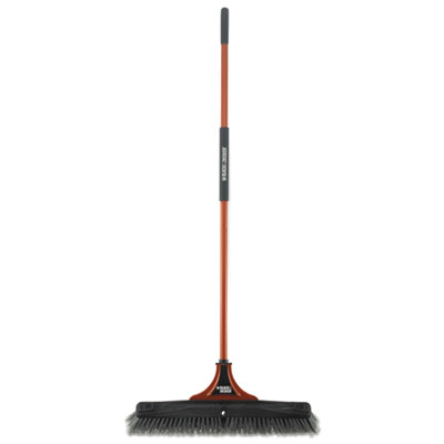 "BLACK+DECKER Indoor/Outdoor Push Broom, 24""W x 54""H, Steel Handle, Orange/Black BUT261086 261086"
