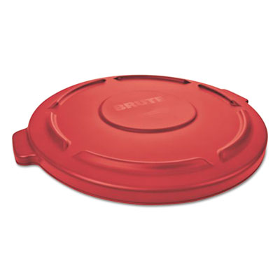 "Rubbermaid Commercial Flat Top Lid for 20-Gallon Round Brute Containers, 19 7/8"" dia., Red, 6/Carton RCP261960RED FG261960RED"