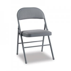 Alera Steel Folding Chair with Two-Brace Support, Fabric Back/Seat, Light Gray, 4/CT ALEFC97G