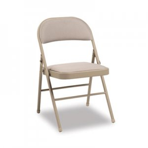 Alera Steel Folding Chair with Two-Brace Support, Fabric Back/Seat, Tan, 4/Carton ALEFC97T