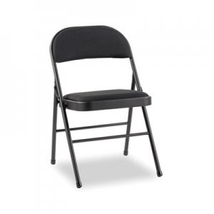 Alera Steel Folding Chair with Two-Brace Support, Fabric Back/Seat, Graphite, 4/Carton ALEFC97B