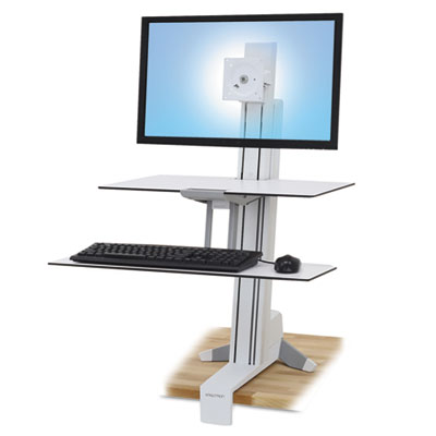 Ergotron WorkFit-S Sit-Stand Workstation w/Worksurface+, LCD HD Monitor, White ERG33351211 33-351-211