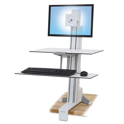 Ergotron WorkFit-S Sit-Stand Workstation w/Worksurface+, LCD LD Monitor, White ERG33350211 33-350-211