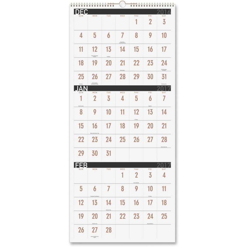 At-A-Glance 3-month Reference Vertical Wall Calendar PM11X28 AAGPM11X28