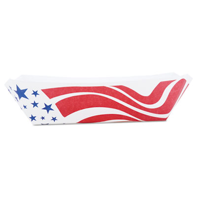 SCT American Flag Paper Food Baskets, Red/White/Blue, 2 lb Capacity, 1000/Carton SCH0534 0534