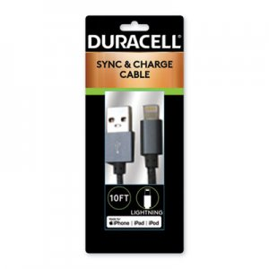 Duracell Sync And Charge Cable, Micro USB, iPhone, 10 ft ECAPRO905 PRO905