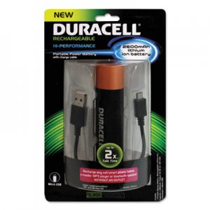 Duracell Portable Power Bank with Micro USB Cable, 2600 mAh, Red ECAPRO515 PRO515