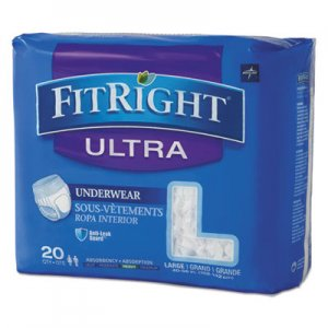 "Medline FitRight Ultra Protective Underwear, Large, 40-56"" Waist, 20/Pack, 4 Pack/Carton MIIFIT23505ACT FIT23505ACT"