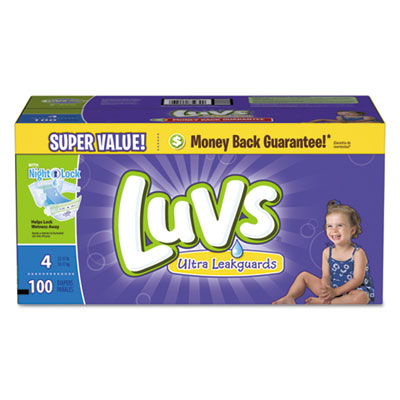 Luvs Diapers w/Leakguard, Size 4: 22 to 37 lbs, 100/Carton PGC85939CT 85939