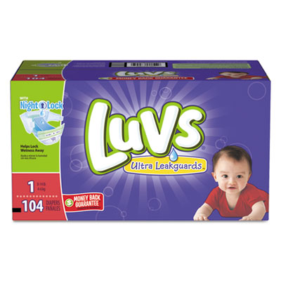 Luvs Diapers w/Leakguard, Size 1: 8 to 14 lbs, 104/Carton PGC87945CT 87945