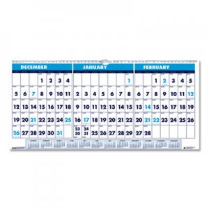 House of Doolittle Recycled Three-Month Horizontal Wall Calendar, 17 x 8, 14-Month, 2018-2020 HOD3647 3647