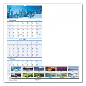 House of Doolittle Recycled Scenic Compact Three-Month Wall Calendar, 8 x 17, 2018-2020 HOD3636 3636