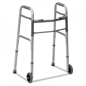 "DMI Two-Button Release Folding Walker with Wheels, Silver/Gray, Aluminum, 32-38""H BGH80210450600 80210450600"