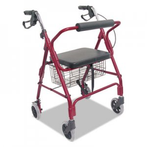 DMI Ultra Lightweight Rollator, Burgundy, Aluminum, Adjustable BGH50110120700 50110120700