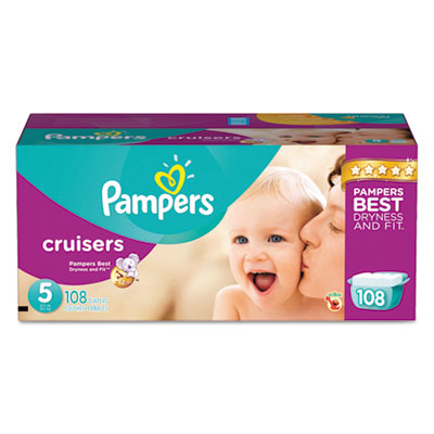 Pampers Cruisers Diapers, Size 5: 27 - 34 lbs, 108/Carton PGC86284CT 10037000862847