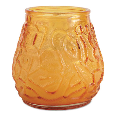 "FancyHeat Victorian Filled Glass Candles, 60 Hour Burn, 3 3/4""h, Amber, 12/Carton FHCF460AM F460-AM"