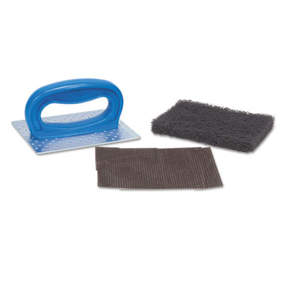"Scotch-Brite PROFESSIONAL Griddle Pad Holder Kit, 4"" x 5 1/4"", Blue, 10/Carton MMM08297 461"