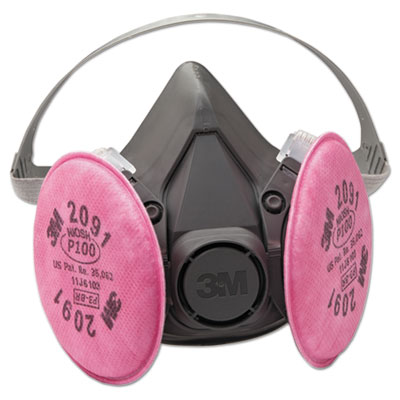 3M Half Facepiece Respirator 6000 Series, Reusable, Small MMM6191 6191